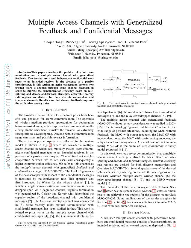 Xiaojun Tang - Multiple Access Channels with Generalized Feedback and Confidential Messages