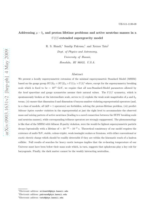 R. S. Hundi - Addressing μ-b_μand proton lifetime problems and active neutrino masses in a U(1)^\prime-extended supergravity model