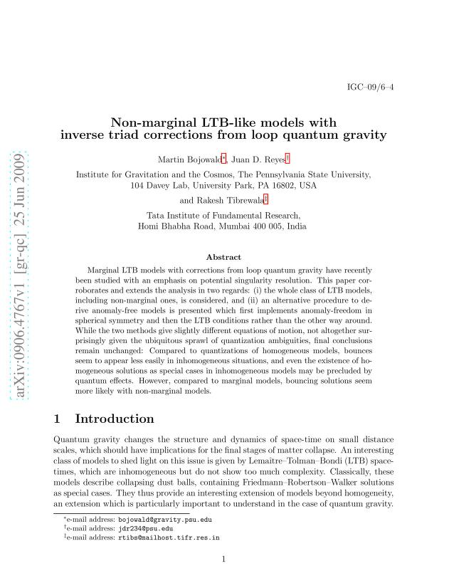 Martin Bojowald - Non-marginal LTB-like models with inverse triad corrections from loop quantum gravity