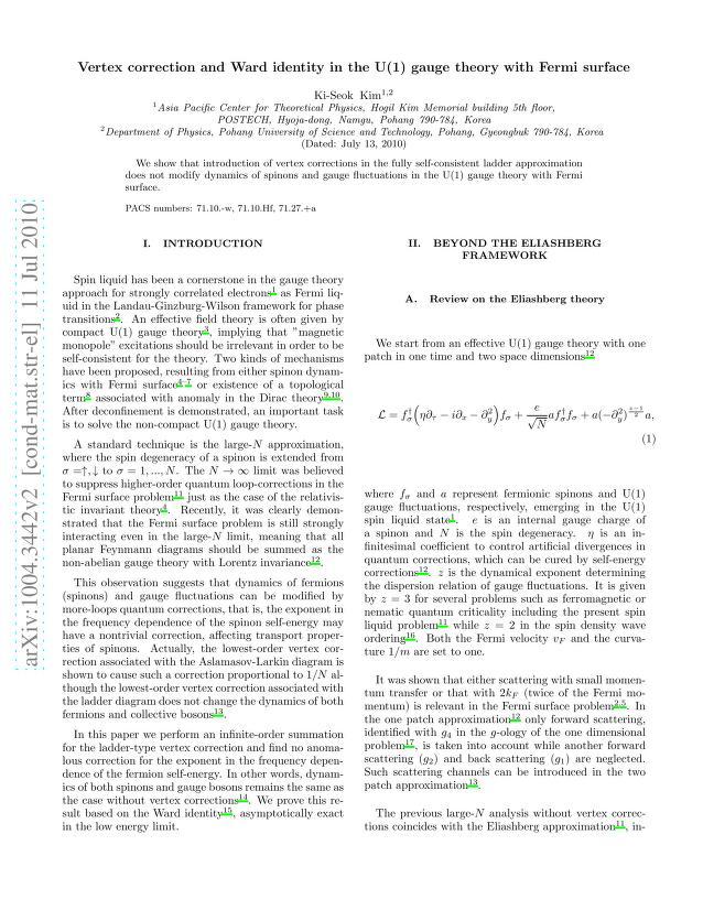 Ki-Seok Kim - Vertex correction and Ward identity in the U(1) gauge theory with Fermi surface