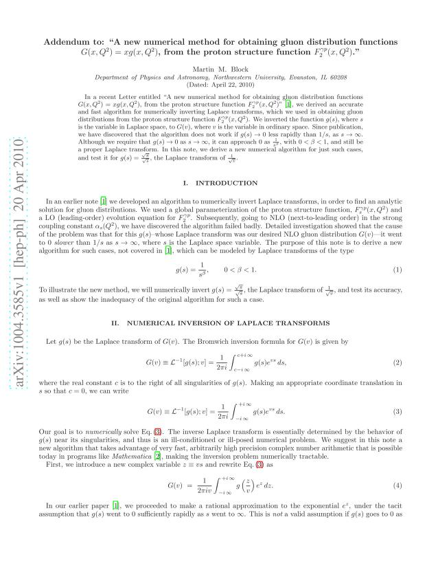 "Martin M. Block - Addendum to: ""A new numerical method for obtaining gluon distribution functions $G(x,Q^2)=xg(x,Q^2)$, from the proton structure function $F_2^{γp}(x,Q^2)$."""