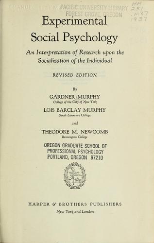 Experimental social psychology