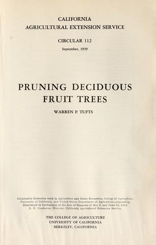 Pruning deciduous fruit trees by Warren P. Tufts
