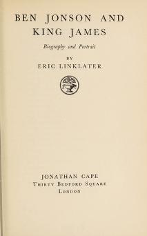 Cover of: Ben Jonson and King James | Eric Linklater