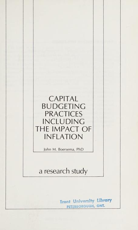 Capital budgeting practices including the impact of inflation by John M. Boersema