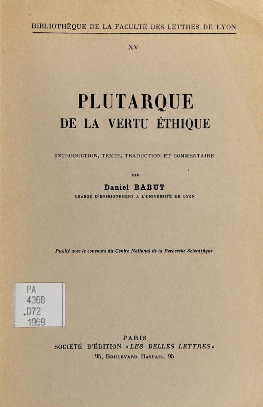 De La vertu éthique by Plutarch
