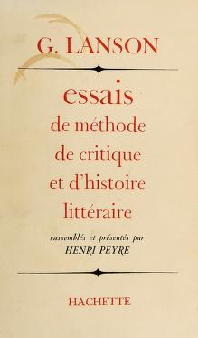 Cover of: Essais de me thode, de critique et d'histoire litte raire   Lanson, Gustave