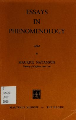 Cover of: Essays in phenomenology | Maurice Alexander Natanson
