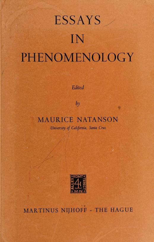 Essays in phenomenology by Maurice Alexander Natanson
