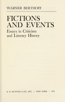 Cover of: Fictions and events   Warner Berthoff