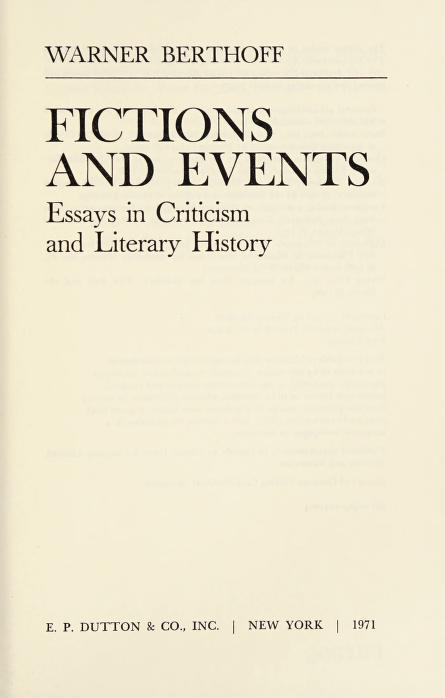 Fictions and events by Warner Berthoff