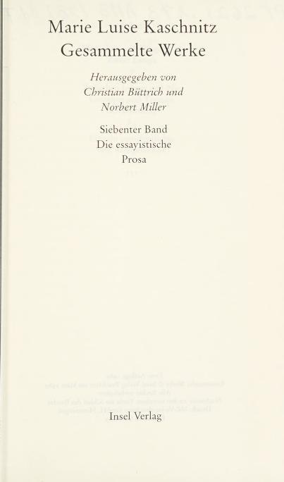 Gesammelte Werke by Marie Luise Kaschnitz