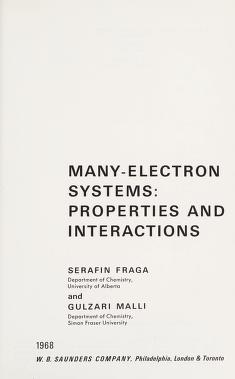 Cover of: Many-electron systems: properties and interactions | Serafin Fraga