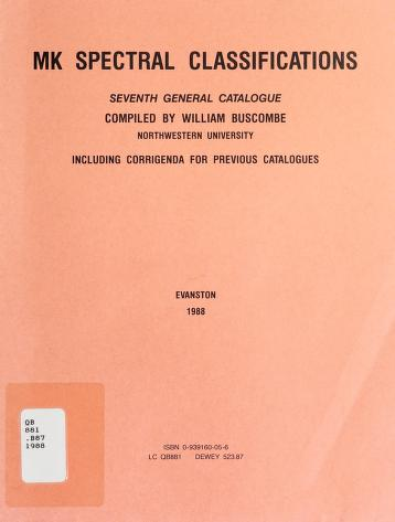 Cover of: Mk Spectral Classifications (6th General Catalogue) | William Buscombe