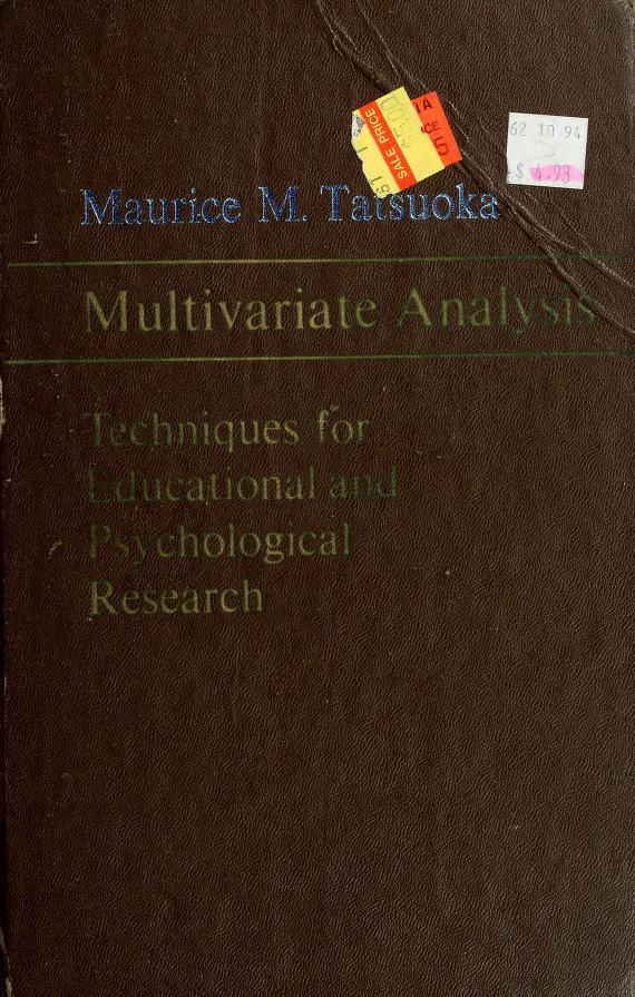 Multivariate analysis by Maurice M. Tatsuoka