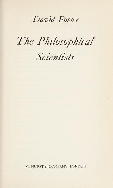 The philosophical scientists by David Blythe Foster