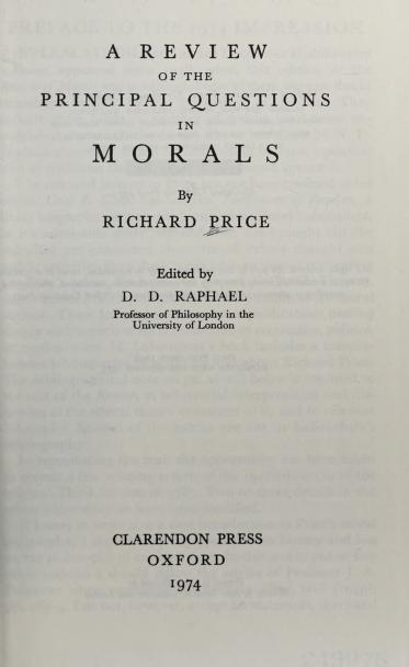 A review of the principal questions in morals by Price, Richard