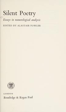 Cover of: Silent Poetry | Fowler, Alastair.