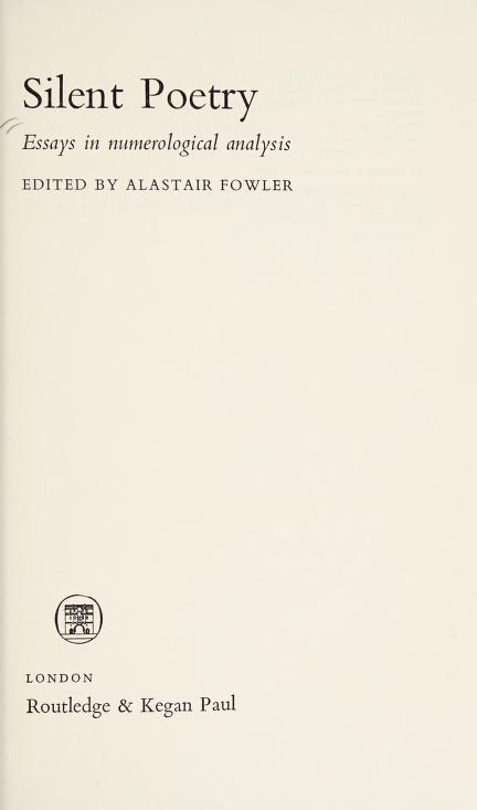Silent Poetry by Fowler, Alastair.