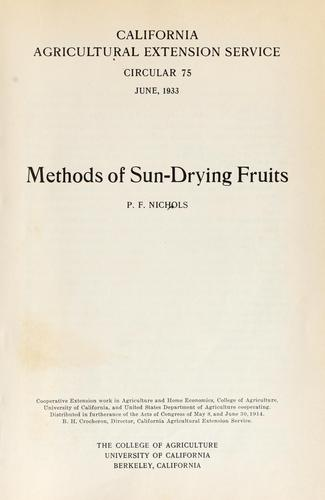 Methods of sun-drying fruits by Paul Frothingham Nichols