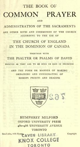 The Book of Common Praise by Church of England in Canada.